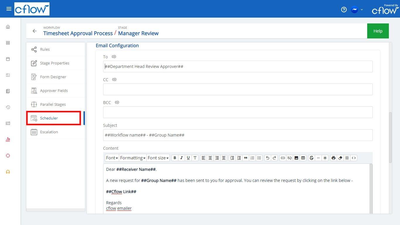 scheduler mail