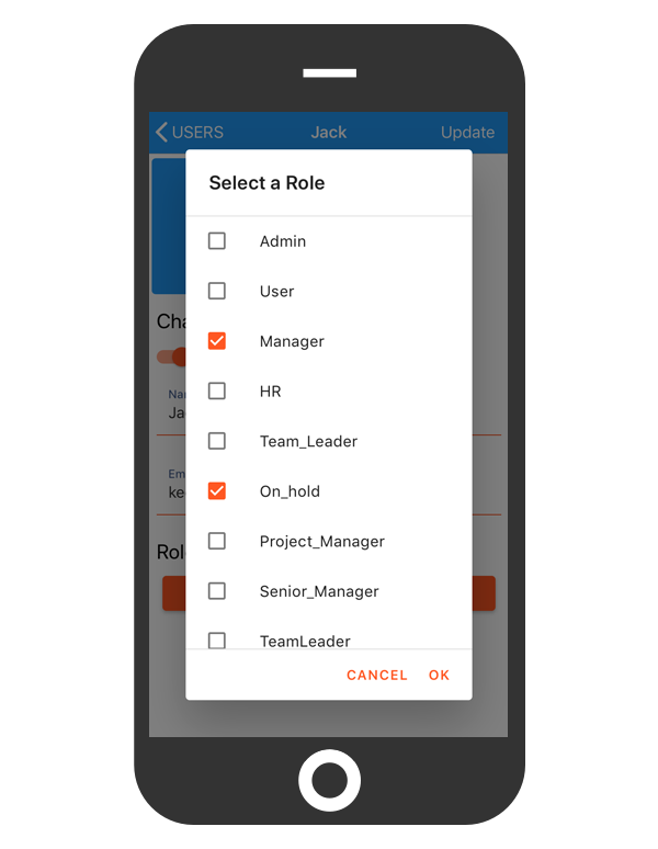 cflow mobile app_select role